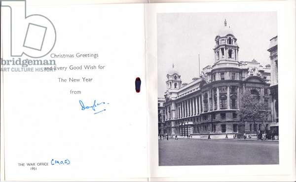 The inside of the Christmas and New Year card from the War Office, 1951 (photograph)