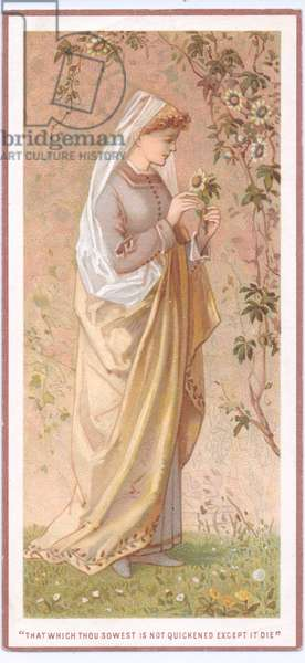 A Victorian greeting card of a pre raphaelite woman holding a flower, c.1880 (colour litho)