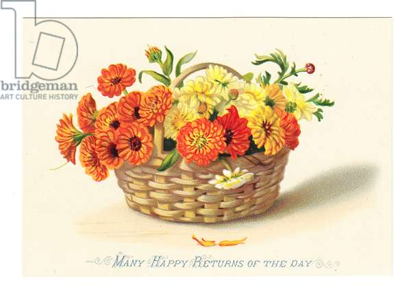 A Victorian birthday card of marigolds in a wicker basket, c.1880 (colour litho)