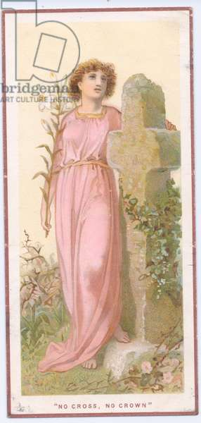 A Victorian greeting card of a pre raphaelite woman next to a headstone in the shape of a cross, c.1880 (colour litho)