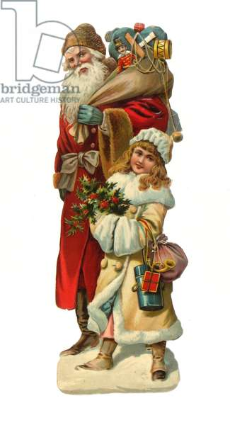 Victorian scrap paper relief of Santa Claus bearing gifts, c.1880 (colour litho)