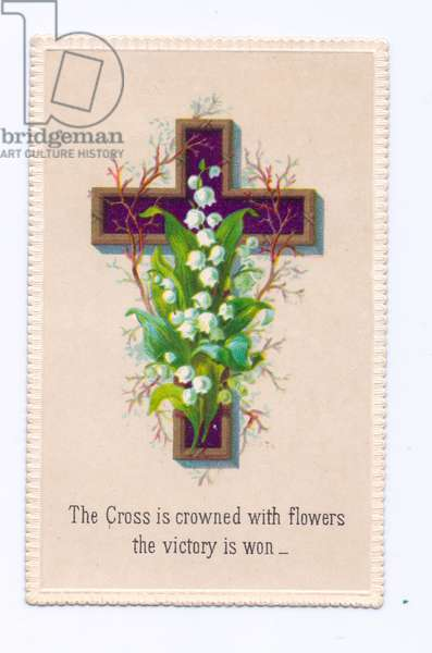 A Victorian religious greeting card of a cross decorated with lily of the valley, c.1880 (colour litho)