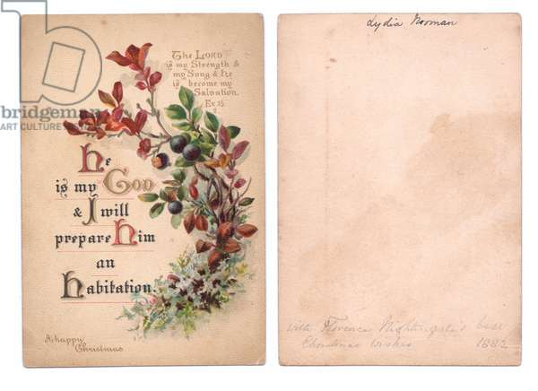 A Christmas Card signed by Florence Nightingale, 1882 (colour litho)