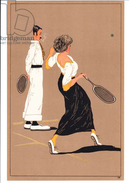 A print of two tennis players in comic and humorous postures, c.1920 (colour litho)