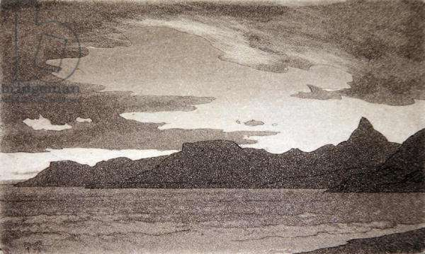 The French Riviera, from Bordighera (etching)