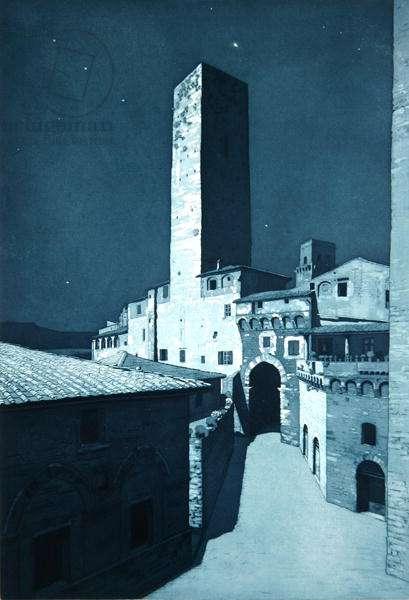 San Gimignano, Moonlight (etching)