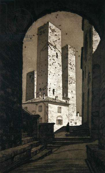 Archway of San Gimignano (etching)