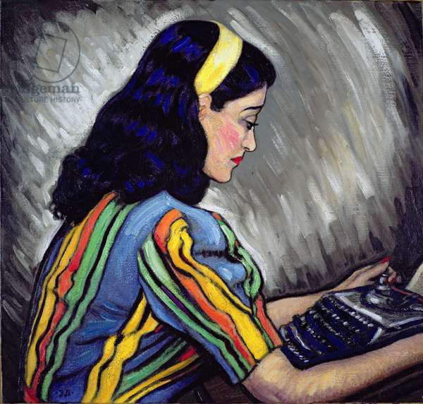 The Typist, Doreen Durrell (oil on canvas)