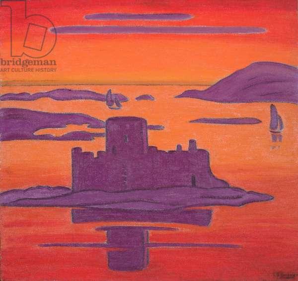 The Isle of Barra, Sunset (oil on hardboard)
