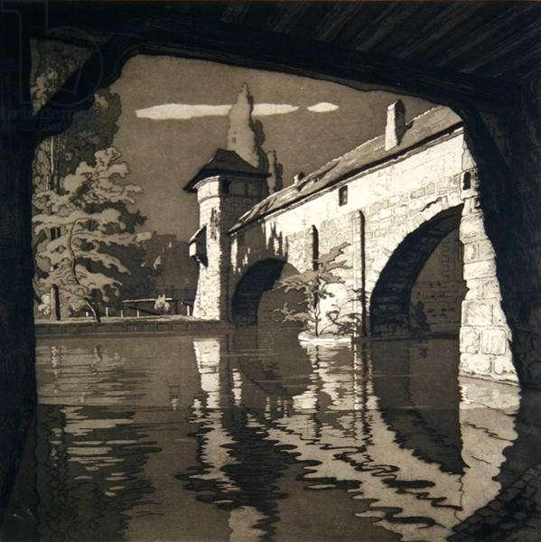 The Bridge, Hangman's Tower, Nuremburg (etching)