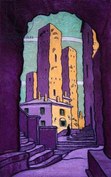 The Twin Towers, San Gimignano (oil on hardboard)