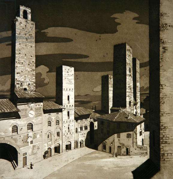 S. Gimignano Town Centre (etching)