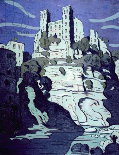 The Castle Dolceaqua (oil on hardboard)