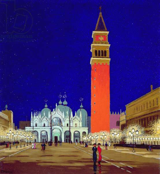 The Piazza, Venice, Night (oil on canvas)