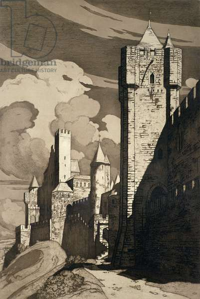 The Walls of Carcassonne (etching)