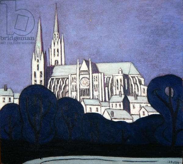 Chartres, Moonlight (oil on hardboard)
