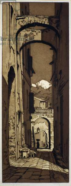 In the Old Town of Bordighera (etching)