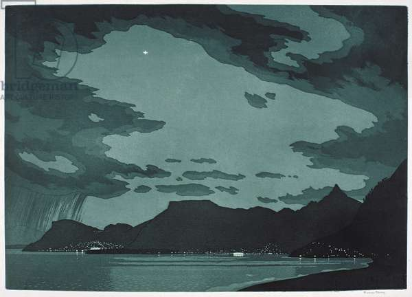 French Riviera, from Bordighera (etching)