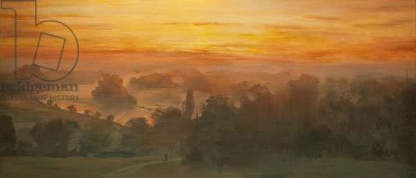 Orange Skies - Thames from Richmond Hill, Sunset, 2012 (oil on canvas)
