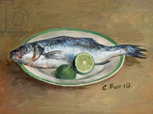 Seabass and Lime, 2010 (oil on wood)