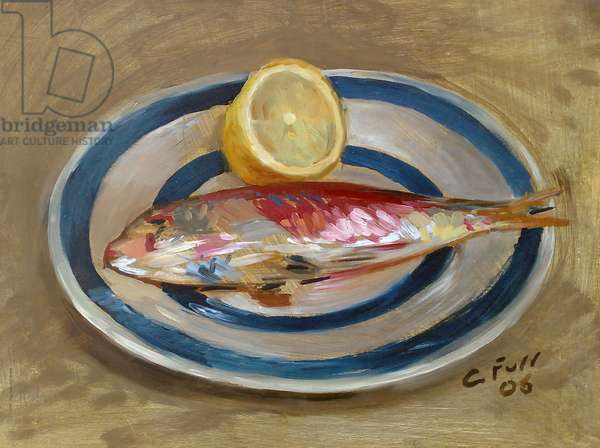 Red Mullet with Lemon, 2006 (oil on wood)