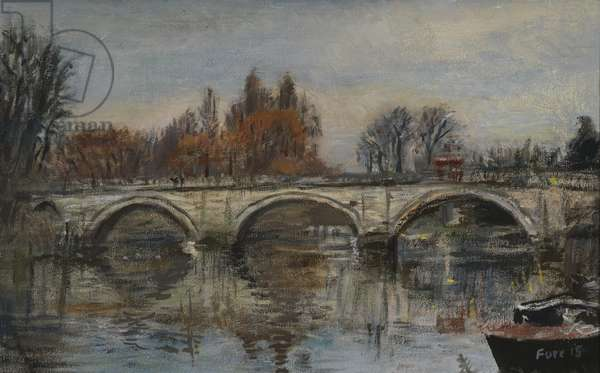 Forever Autumn, Red Leaves- Richmond Bridge, 2015 (oil on canvas)