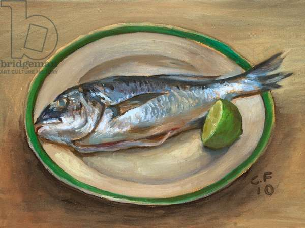 Sea Bream and Lime, 2010 (oil on wood)