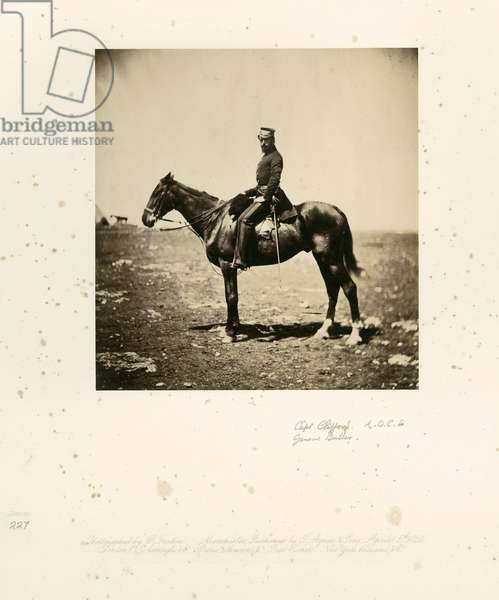 Captain the Honourable Henry Hugh Clifford of the British Army, along with his horse, 1855 (b/w photo)