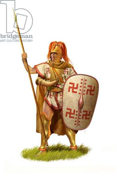 Samnite Infantryman, 3rd Century BC, Ancient Italy, 2020 (pencil drawing, digital oil, 3d cgi)