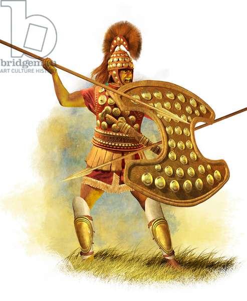 Ancient Greek Warrior, Late Geometrik Era, 2015 (digital brush, 3d cgi)