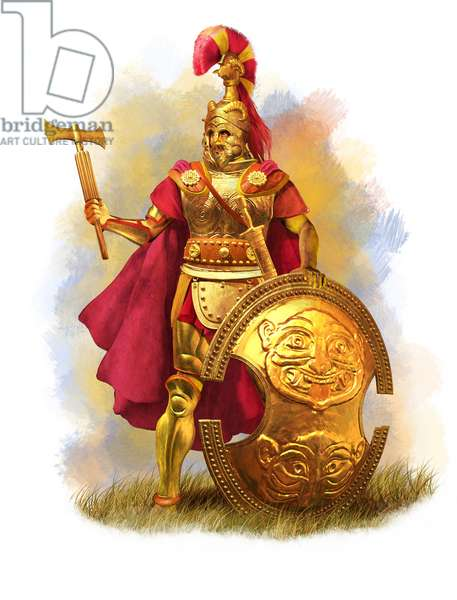 Etruscan King In Full Armor, 6th Century BC, 2015 (pencil drawing, 3d cgi)