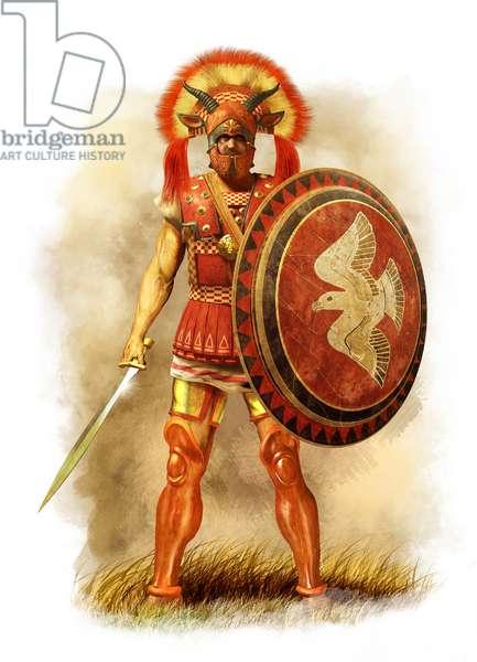 Latin Centurion, Ancient Italy, 5th century BC, 2015 (pencil drawing, digitalbrush, 3d cgi)
