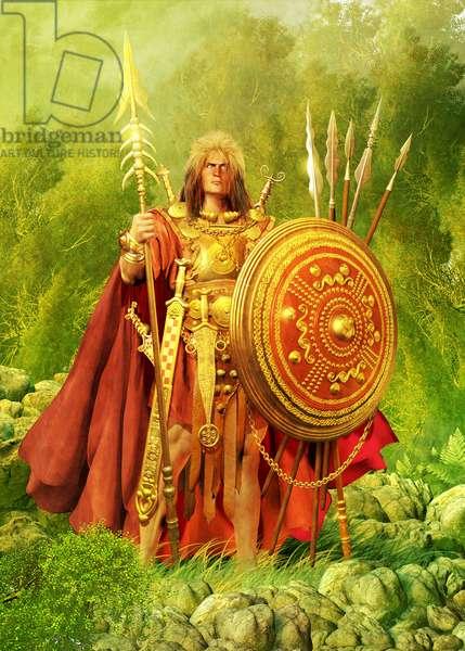 Cuchulain, Mythical Champion Of Northern Ireland, 2014 (pencil drawing, digital oil, 3d cgi)