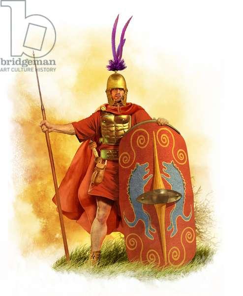 """Roman """"Hastatus"""" Legionair, Late 3rd CenturyBC, 2015 (pencil drawing, digital oil, 3d cgi)"""
