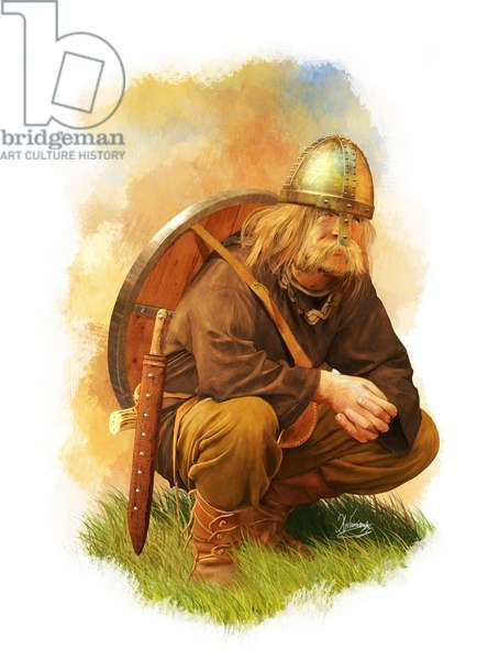 Viking Warrior, 9th Century AA, 2014 (pencil drawing, digital oil, 3d cgi)