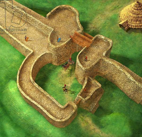Celtic Hill, Fort Entrance, Crickley Hill,Gloucestershire, 6th Century BC, 2004 (3d, cgi)