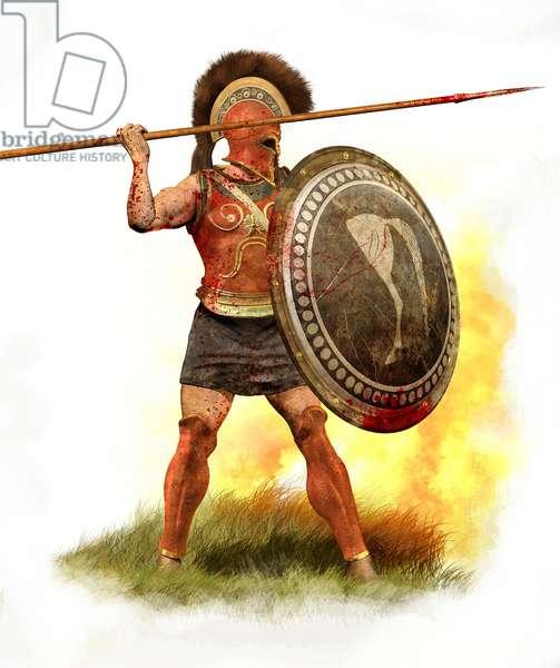 Athenian Hoplite, 500 BC, 2010 (pencil drawing, digital oil, 3d cgi)