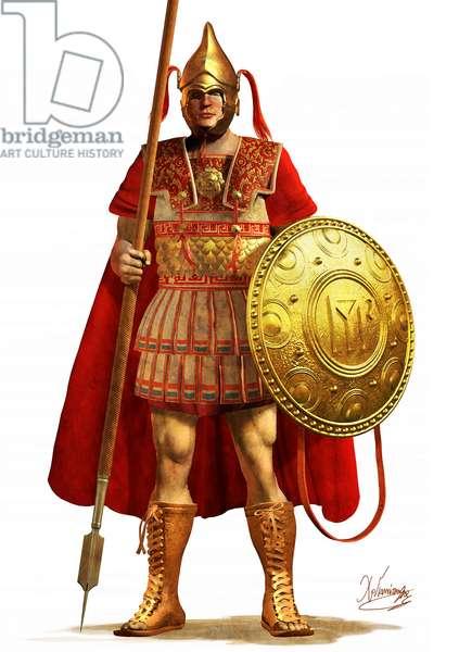 Greek Pikeman From Epirus, 3rd Century BC, 2007 (digital brush, 3d cgi)
