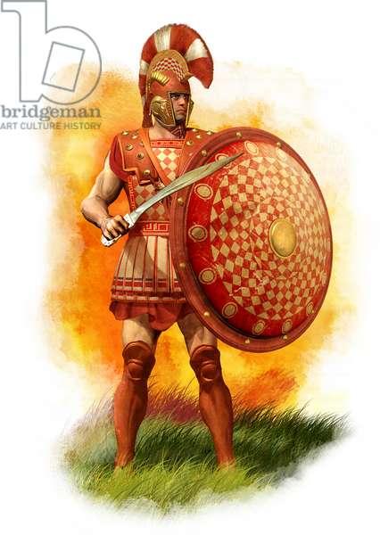 Athenian Hoplite, 490 BC, 2010 (pencil drawing, digital oil, 3d cgi)