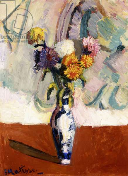Chrysanthemums in a China Vase, 1902 (oil on cradled board)