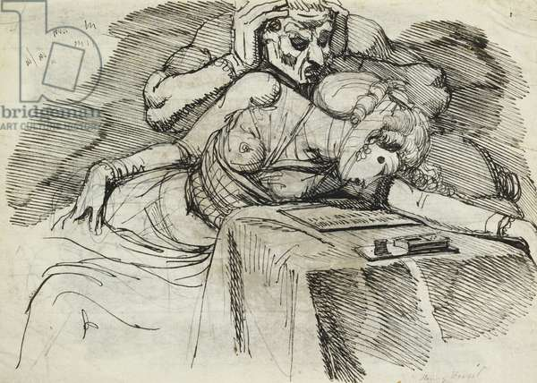 A Woman Swooning at a Writing Table, with a Threatening Figure Behind (recto), (pencil, pen and black ink)