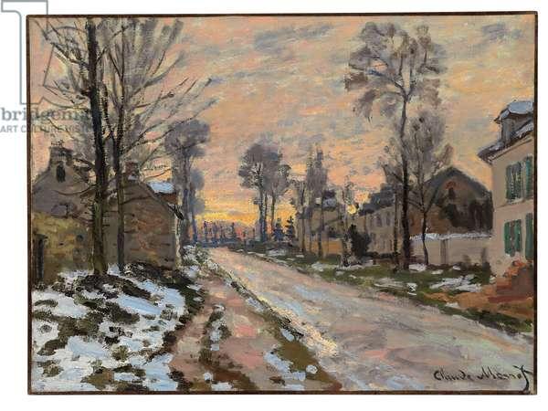 Route à Louveciennes, neige fondante, soleil couchant, c.1869-70 (oil on canvas)