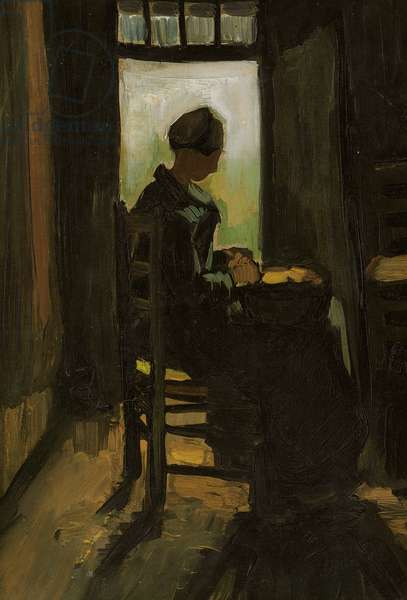 Woman Seated Before an Open Door, Peeling Potatoes, 1885 (oil on canvas)