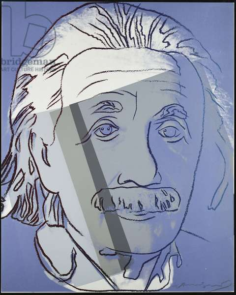Albert Einstein, from 'Portraits of Jews of the Twentieth Century', 1980 (colour screenprint)