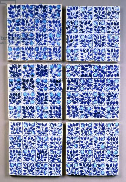 Seven William Morris blue 'Small Bough' square tiles,  (ceramic)