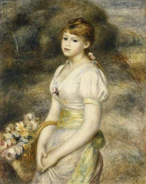 Young Girl Carrying a Basket of Flowers; Jeune Fille Portant une Corbeille de Fleurs, 1888 (oil on canvas)