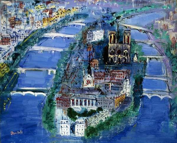 Ile de la Cite,  (oil on canvas)