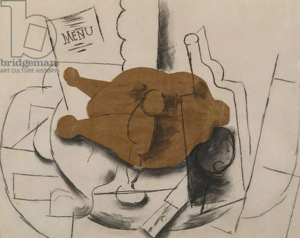 Chicken, Glass, Knife and Bottle, 1913 (papier colle & charcoal on paper)