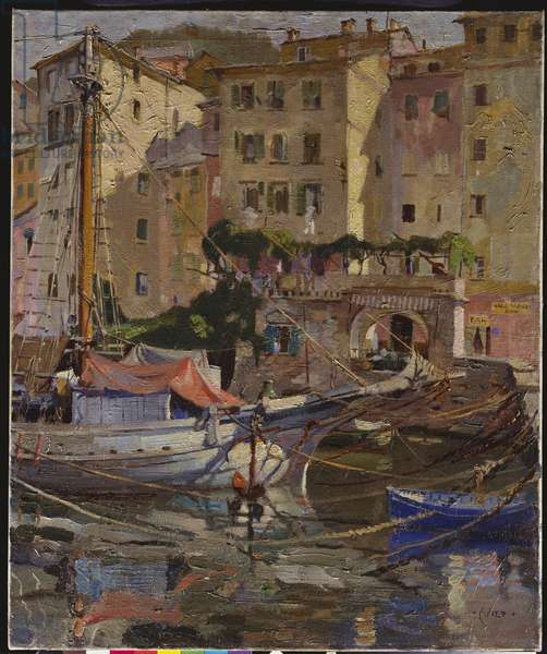 The Charcoal Boat, Camogli, Italy (oil on canvas)