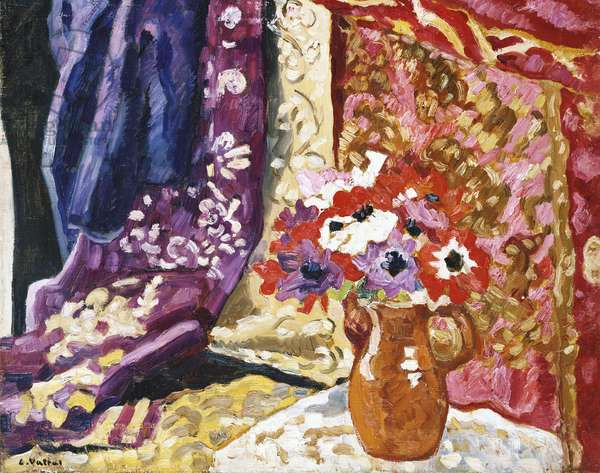 Anemones with Curtains, 1937 (oil on canvas)